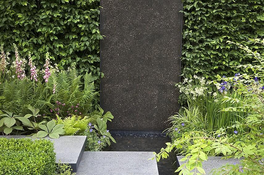 01515190-Fagus-beech-hedge-modern-urban-courtyard-commercial-fountain-water-stone
