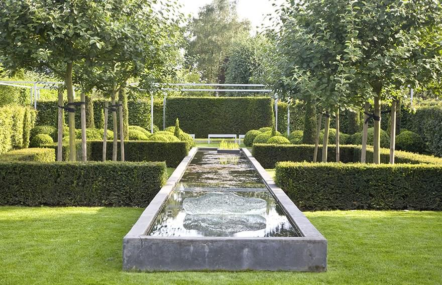 contemporary landscapes and gardens with hedges instanthedge 21321 | 21321 taxus hicksii yew hedge border pond water formal garden estate modern contemporary landscape