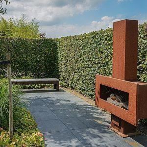 432537352-fagus-beech-privacy-hedge-patio-outdoor-living-fireplace-suburban-modern