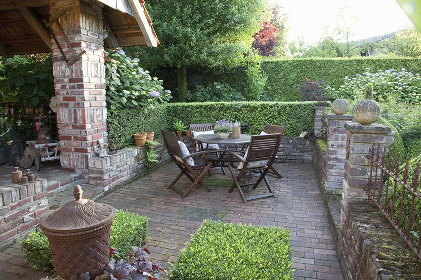 43812-Buxus-boxwood-thuja-arborvitae-privacy-hedge-country-garden-suburban-patio-outdoor-dining